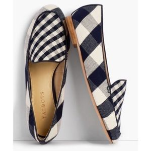 Talbots Ryan Loafers Gingham Canvas Navy/White